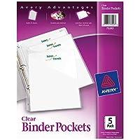 """Bolsillos tipo Avery Binder, transparentes, 8.5 """"x 11"""", sin ácido, duraderas, 5 chaquetas de slash (75243)"""