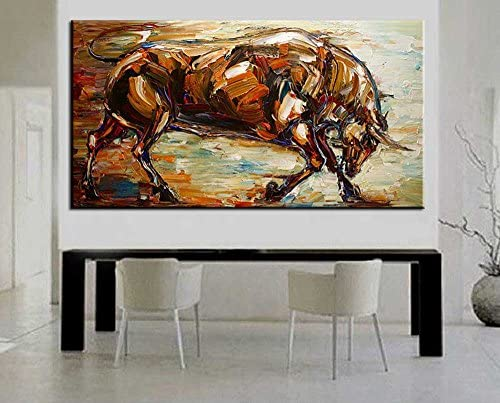 Osm Art Hand-painted Brown Knife Paintings High Skills Artist 100 Handmade Strong Bull Oil Painting On Canvas Hand Abstract Animals Painting For Office Decoration 70x140cm