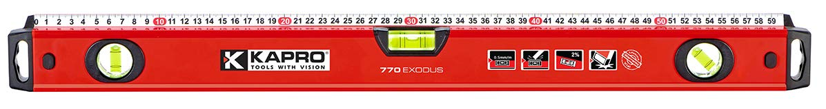 Kapro 770-42-48 Exodus Professional Box Level with 45/° Vial /& Ruler 48-Inch Length