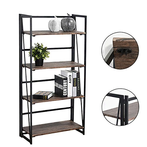Vogue Carpenter 4-Tier Bookcase Shelf Organizer, No-Assembly Sturdy Foldable Rustic Stand Storage Shelves 23.6×11.6×49.2 Inch