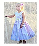 Lavender Flower Girl Silk Dress With Hand Smocking and Big Silk Bow