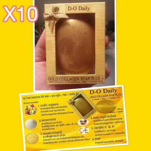 Pack of 10 Bars D-O Daily Whitening Pure Skincare Facial Gold Collagen Vitamin Soap Plus by kwantasmile by kwantasmile (Image #4)