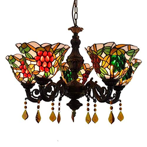 ChuanHan Tiffany Style Pendent Lamps, Stained Glass Grape Design Chandelier/Pendant Lamp, Parlour Diningroom Bar Crystal Pendant Lights