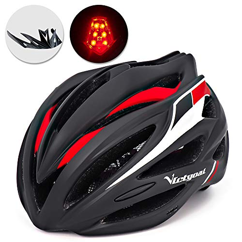 VICTGOAL Bike Helmet with Detachable Visor Back Light & Insect Net Padded Adjustable Sport Cycling Helmet Lightweight Bicycle Helmets for Adult Men and Women Youth Teenagers (Black Red)
