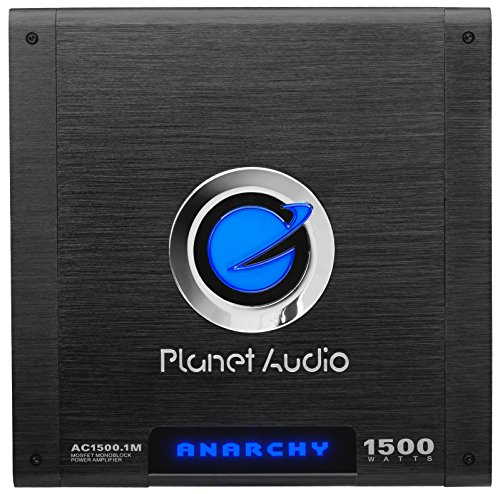 Planet Audio AC1500.1M Anarchy 1500 Watt, 2/4 Ohm Stable Class A/B, Monoblock, Mosfet Car Amplifier with Remote Subwoofer Control (Sub Speaker Amp)