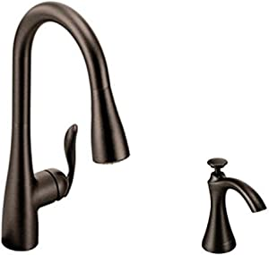 Moen Arbor One-Handle High Arc Pulldown Kitchen Faucet Featuring Reflex, Oil Rubbed Bronze (7594ORB) with Kitchen Soap and Lotion Dispenser
