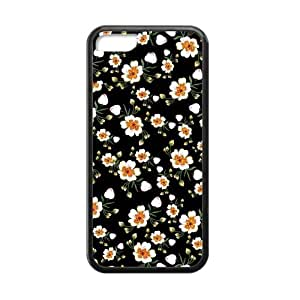 Canting_Good,Retro Floral Daisy, Custom Cases for iPhone 5C TPU (Laser Technology)
