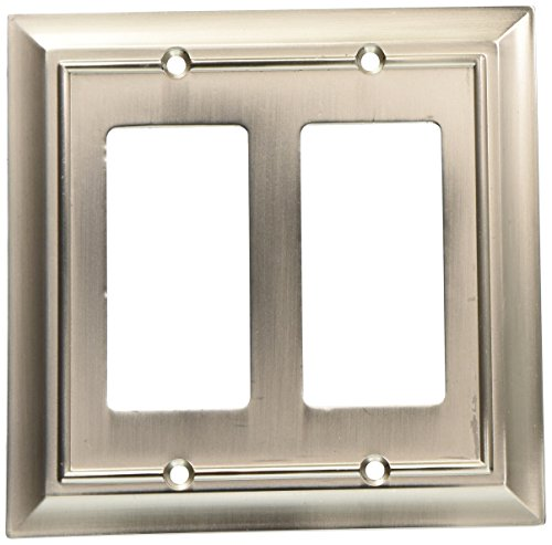 Switch Nickel Satin Double (BRAINERD 64175 Architectural Double Decorator Wall Plate / Switch Plate / Cover)