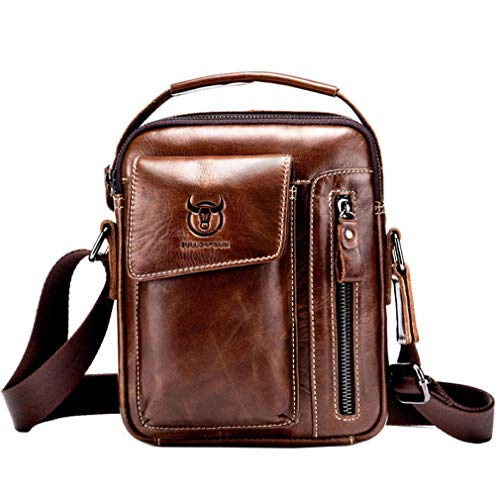 Hebetag Vintage Leather Shoulder Crossbody Bag for Men Business Casual Messenger Briefcase Handbag Mens Phone Wallet Tote Day Pack Coffee
