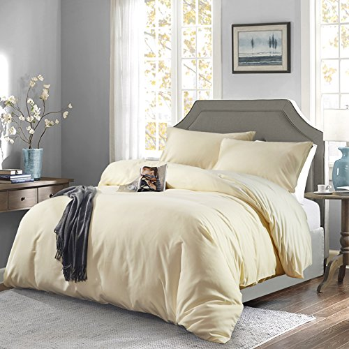 OAITE Duvet Cover,Protects and Covers Your Comforter/Duvet Insert,Luxury 100% Super Soft Microfiber,Queen Size,Color Cornsilk,3 Piece Duvet Cover Set Includes 2 Pillow Shams (Comforter Light Yellow)