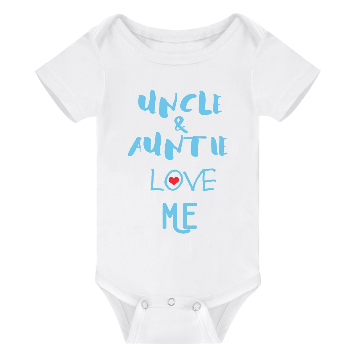 Winzik Newborn Baby Boys Girls Outfits Uncle Auntie Love Me Letters Print Baby Onesie Romper Jumpsuit T-Shirt (0-3 Months, White Blue)