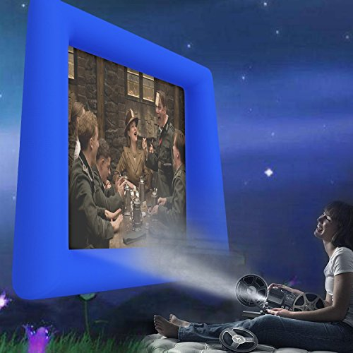 Vividy Inflatable Movie Screen, Inflatable Projector Screen, Outdoor Home Air-Blown Viewing Canvas Protector Screen for Backyard Parties (Royal Blue)