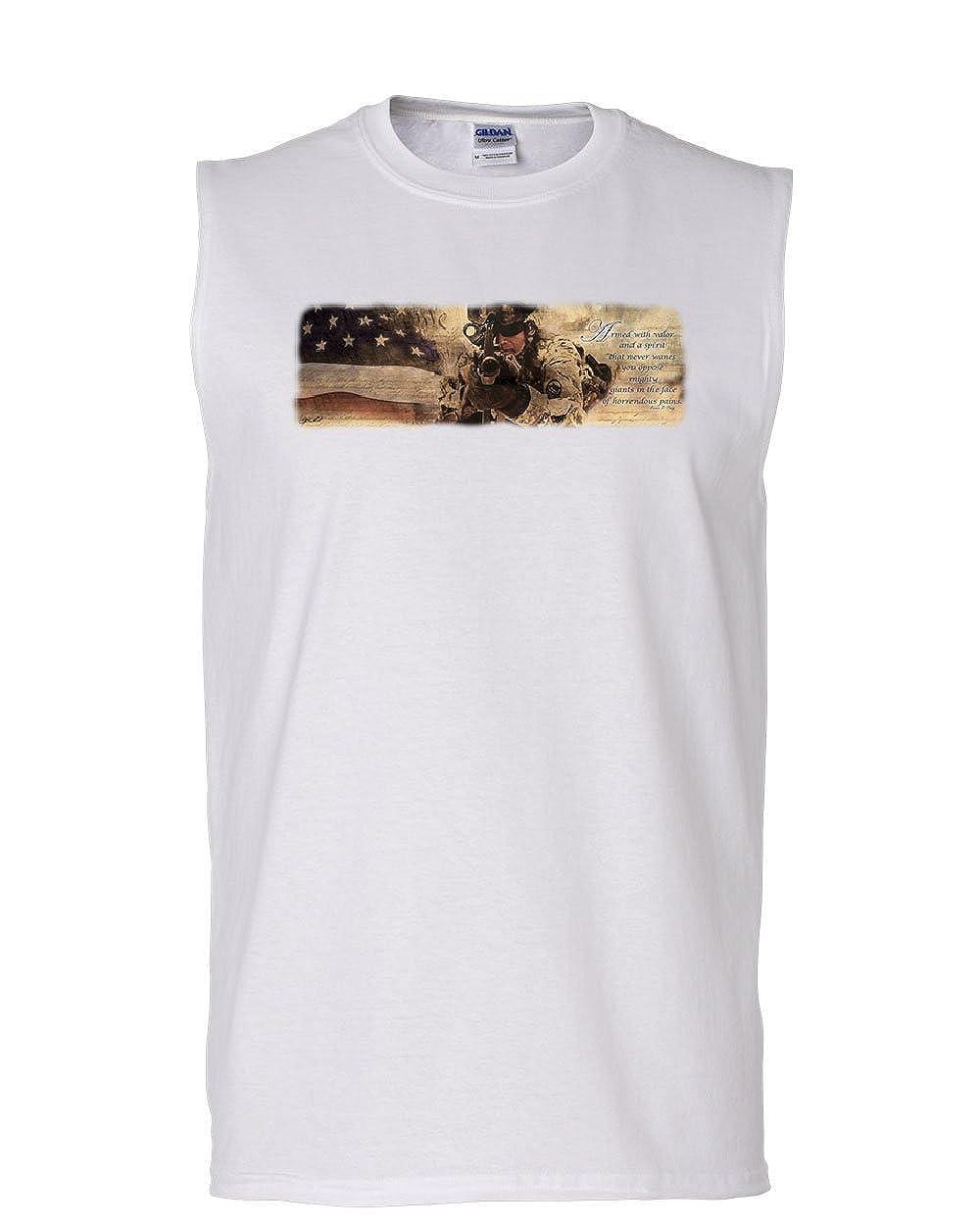Tee Hunt Armed with Valor Muscle Shirt USA Patriotic Veteran POW MIA Sleeveless