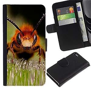 Billetera de Cuero Caso Titular de la tarjeta Carcasa Funda para Apple Iphone 4 / 4S / Macro Bee / STRONG