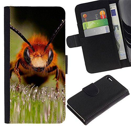 EuroCase - Apple Iphone 4 / 4S - Macro Bee - Cuir PU Coverture Shell Armure Coque Coq Cas Etui Housse Case Cover