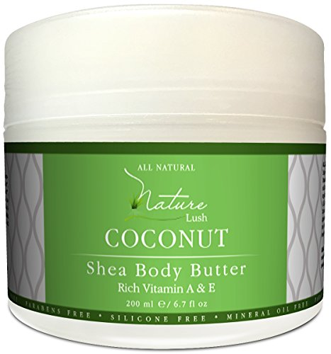 Best Coconut Body Cream – Natural Organic Deep Moisturizing Shea Butter with Almond by Nature Lush – 6.7 fl oz.