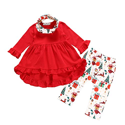 3PC Toddler Baby Girls Cute Floral Shirt Dress + Pants with Headband Outfit Clothing Sets (Red, 2-3T) -