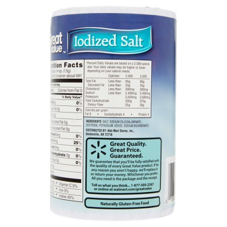 Great Value Iodized Salt, 26 oz (pack of 5) by Great Value (Image #2)
