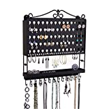 Jewelry Organizer Wall Mounted Hanging Earring Holder Necklace Rack Closet Storage, Black