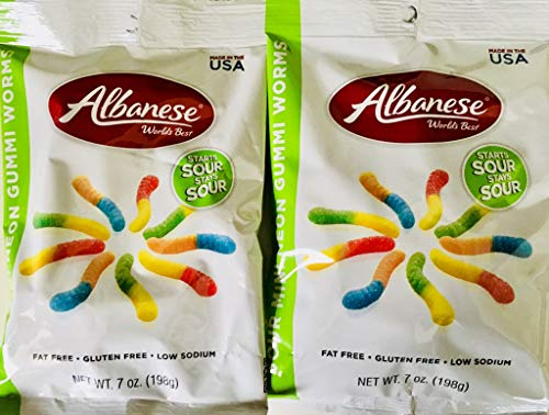- Albanese World's Best Sour Mini Neon Gummi Worms 7 Ounce (Pack of 2)