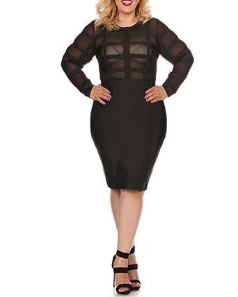 Lalagen Womens Autumn Mesh Long Sleeve Plus Size Party Bandage