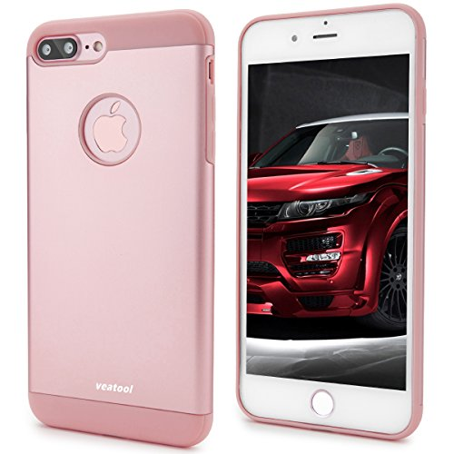 iPhone 7 Plus Case,Veatool [Metal Series] One-piece Matte Back and TPU Bumper Cushion Cover for iPhone 7 Plus(2017)(Rose Gold)
