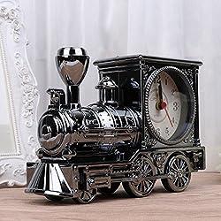 OHTOP Train Pattern Retro Quartz Alarm Clock Home Desk Decoration Crafts Birthday Gift (Gray White)