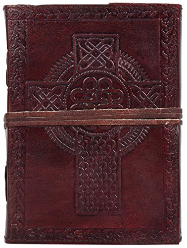 Catholic Cross Handmade Vintage Antique Look Genuine Leather Bound Christian Catholic Journal Diary Notebook Travel Book with blank Unlined Pages to write for Men Women Gift for Him Her Celtic Cross