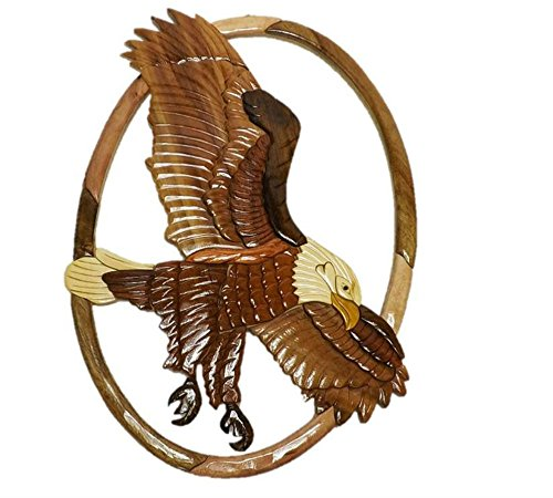 Handmade Art Intarsia Wooden Wall Plaque - Flying Eagle(019)