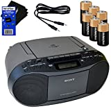 Sony MP3 Format CD, AM/FM Radio, Cassette Recorder Boombox with Mega Bass + 6 Batteries + Auxiliary Cable & HeroFiber Ultra Gentle Cleaning Cloth