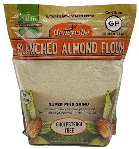 Honeyville Blanched Almond Flour Super Fine Grind Gluten Free Cholesterol Free 3lbs by Honeyville