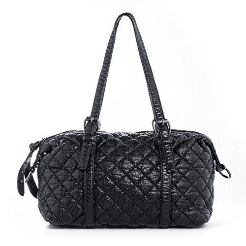 Baguette Handbag Bag - Shoulder Bag Vegan Leather Handbag for Women Cross Body Purse Soft Quilted Barrel Baguette Bags Katloo