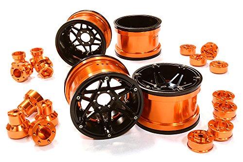 ups C26523ORANGE Billet Machined 6 Spoke Wheels w/Multi Adapters for Most 2.2 Scale Rock Crawler ()