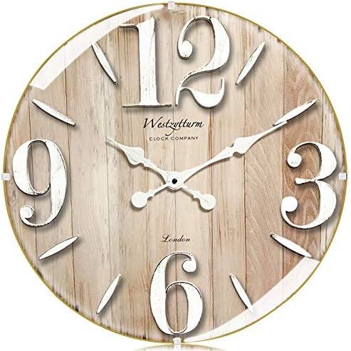 Westzytturm Farmhouse Wood Wall Clock 20 inch Wooden Frame