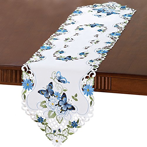 Collections Etc Elegant Butterfly And Greenery Table Linens, Blue, Runner ()