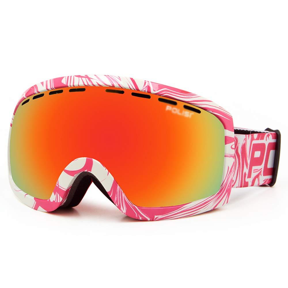 スキー用のゴーグル スキーゴーグル - PC、二重防曇レンズ、偏光HD、孤立した眩しさ、近視に持ち込むことができる大人の男性と女性の専門の屋外スキーと登山器具コートHDゴーグル - 10色 (色 : Colorful 白い powder) Colorful 白い powder