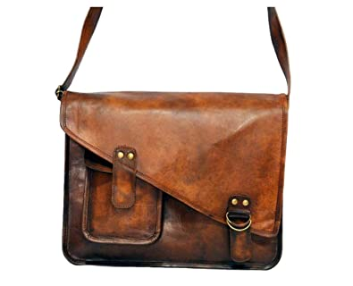 Image Unavailable. Image not available for. Color  Artishus Upgraded New Vintage  Brown 15 quot  Leather Messenger Bag for Men   Women ... b503761c21cf4
