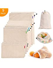 Eono by Amazon - Reusable Shopping Bags 9/12/16 Pcs Mesh Produce Bags, Storage Bags, ECO-Friendly, Washable and Lightweight, Perfect for Grocery, Shopping, Storage, Fruit, Vegetable and Toys