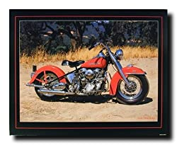1954 Red Panhead Harley Davidson Vintage Motorcycle Bike Art Print Poster (16x20)