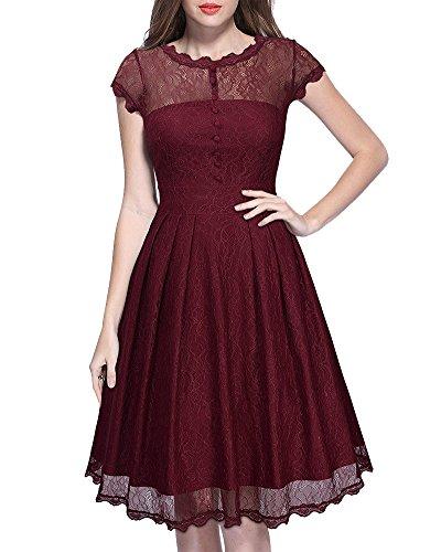 Encaje Vestido de Mujer Elegante Manga Corta Vestidos Dress de Novia Vino Rojo