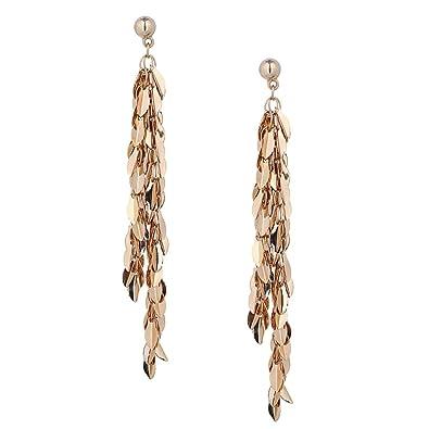 f04a14a423cb Prettyia Aretes Largos Llamativos de Mini Colgantes Diseño Moderno - Oro  Forma Hoja  Amazon.es  Joyería