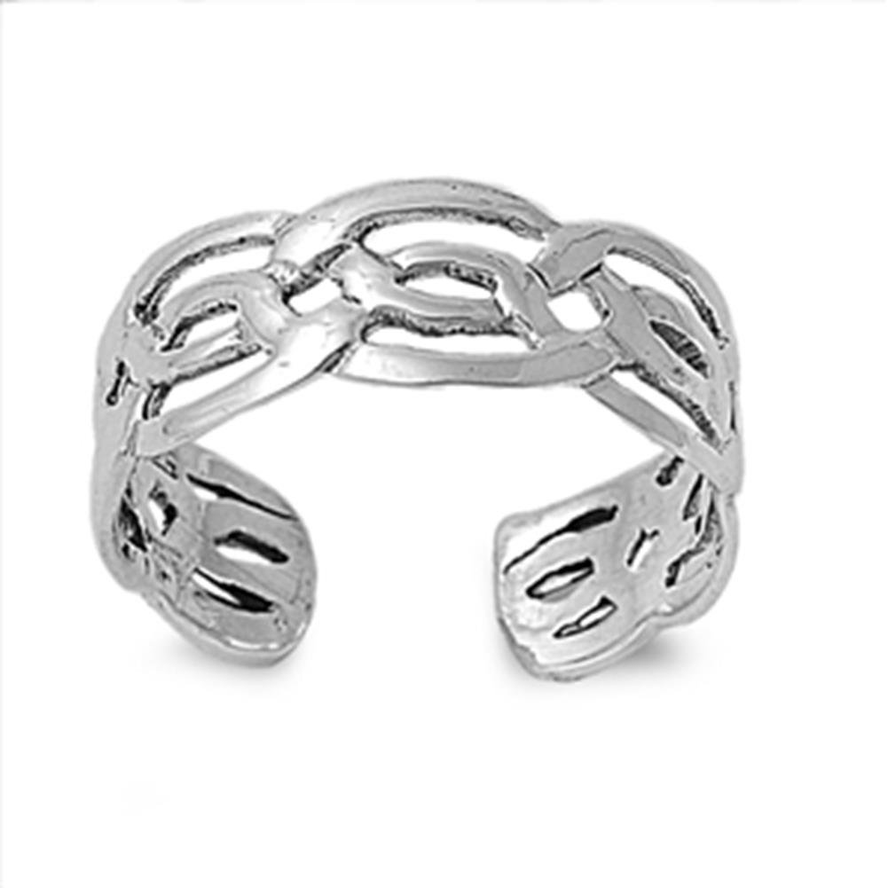 Celtic Design Toe Ring Sterling Silver 925 Beach Adjustable Jewelry Silver Line UK_B07DXMBFX3