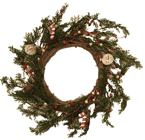 Your Hearts Delight Snowman Candy Cane Rusty Bells Wreath, (Candy Hearts Wreath)