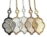 stylesilove Womens Trendy Two-Tone Cut Off Filigree Quatrefoil Long Chain Pendant Necklace Dangle Earring