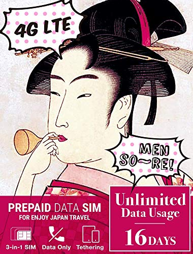 Japan prepaid SIM Card (Unlimited Data / 16 Days) - Fast 4G/LTE and Great Reception Japan Local SIM (Best Prepaid Mobile Hotspot 2019)