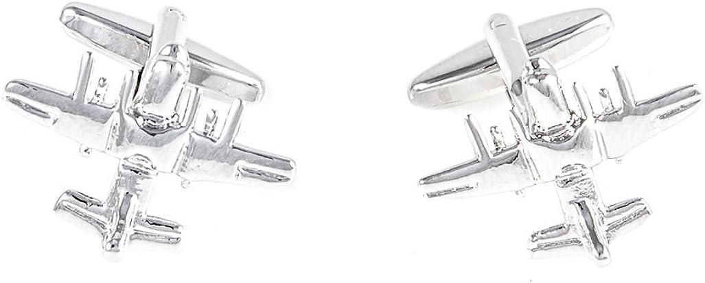 Collar Tabs /& Polishing Cloth MRCUFF Plane Airplane Pilot Jets 6 Pairs Cufflinks in a Presentation Gift Box