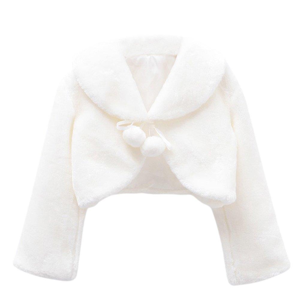 Kid Faux Fur Long Sleeve Wedding Flower Girl Shawl Wrap Cape White 6-8