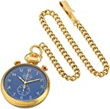 Invicta Men's 'Vintage' Quartz Gold-Tone Pocket Watch, Color:Blue (Model: 19673)