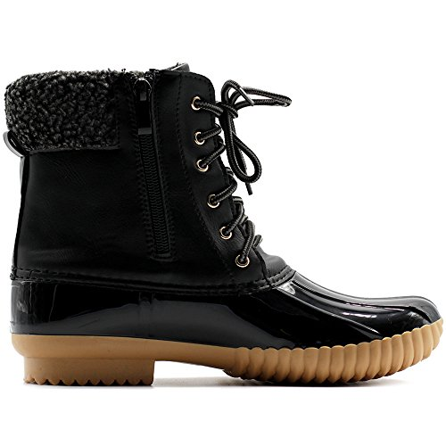 Fleece Duck Black Up Lace Shoe Boots Women Ollio Ip6ZI