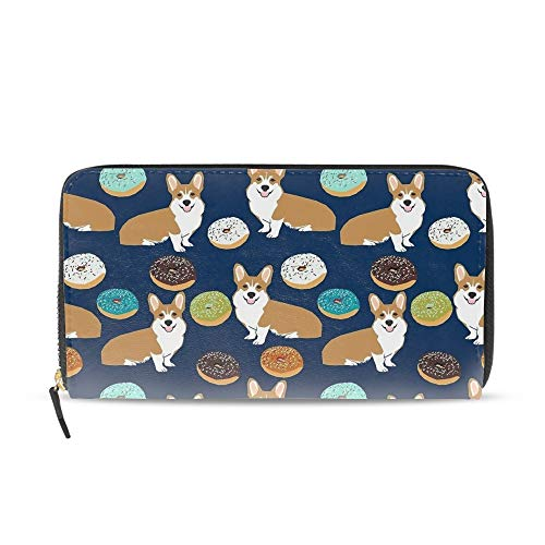 - Donuts Welsh Corgi Wallets for Women Card Holder Zipper Purse Phone Clutch Wallet